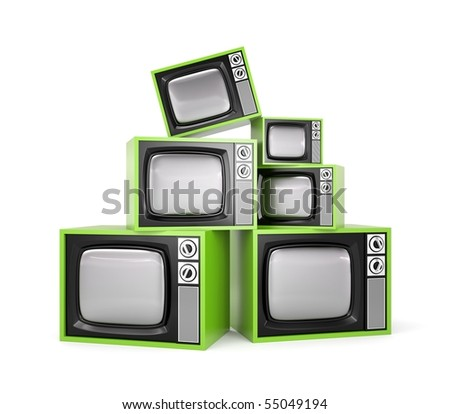 Heap of Retro TV - stock photo