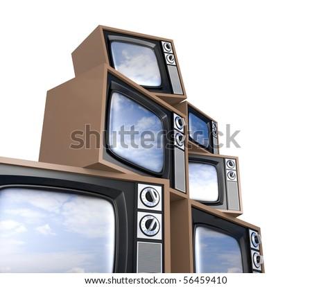 Heap of Retro TV with reflected sky - stock photo
