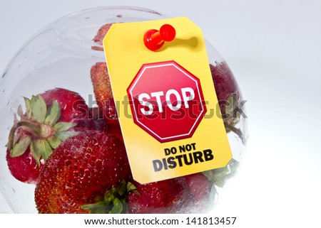 "Heap of ripe strawberry under glass hood with a ""Do not disturb"" yellow label and Stop road sign image in it. Stop GMO fruits concept/Stop GMO fruits - stock photo"