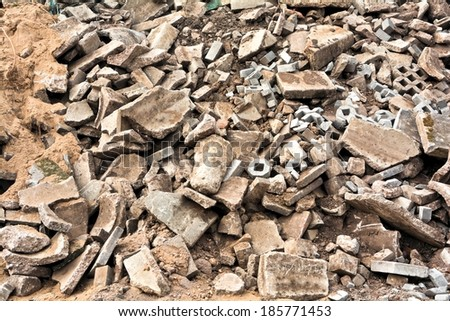 Heap of rubble to a landfill - stock photo