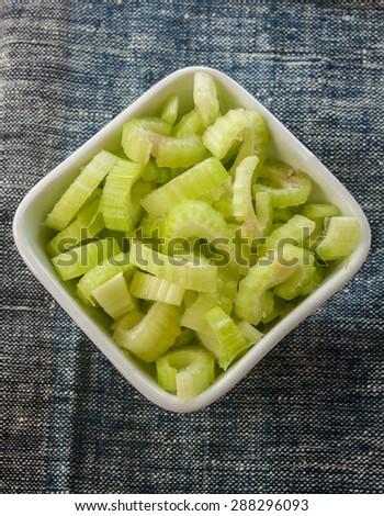 heap of sliced celery - stock photo