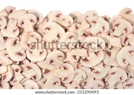 Heap of sliced mushrooms on a white background  - stock photo