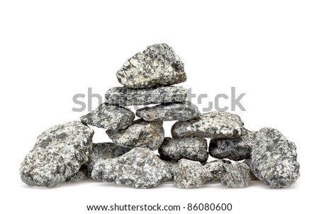 Heap of stones isolated on white - stock photo