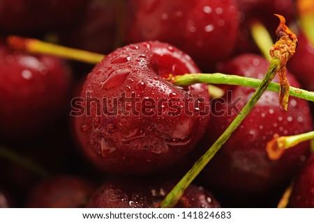 Heap of  sweet wet  cherry, macro image - stock photo