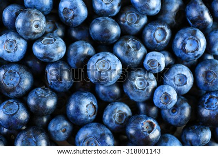 Heap of tasty ripe blueberries close up - stock photo