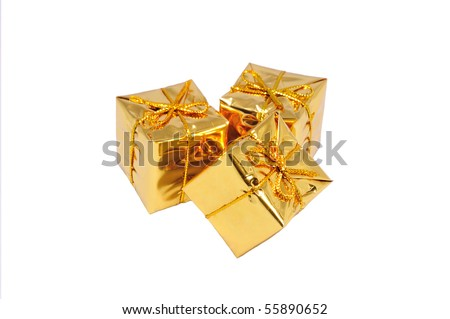 heap of three isolated small yellow gifts - stock photo