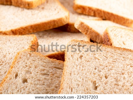 Heap of toasted bread slices - stock photo