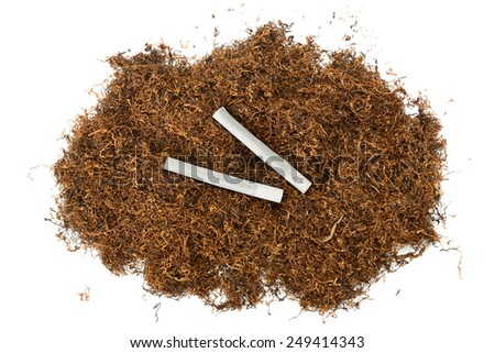 heap of tobacco and cigarettes isolated on white - stock photo