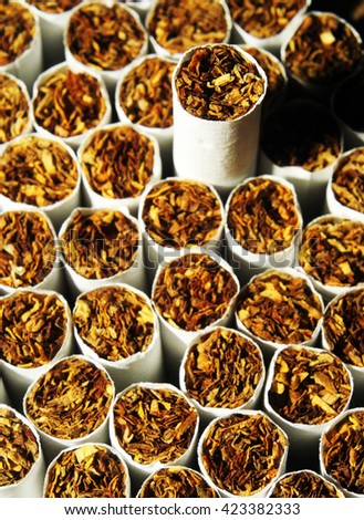 Heap of Tobacco Cigarettes, stack as a background texture, close up from the front - stock photo