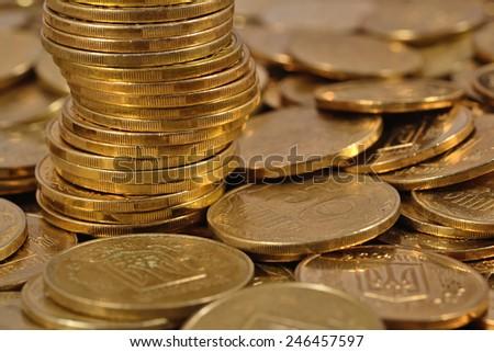 Heap of Ukrainian coins close up  - stock photo
