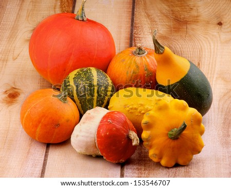 Heap of Various Marrow, Squash and Pumpkins on Wooden background - stock photo