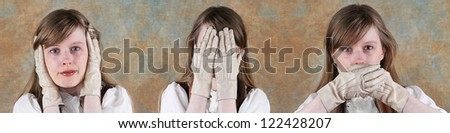 Hear No Evil Speak No Evil See No Evil Woman - stock photo