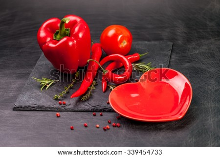 hears shape chilli peppers - stock photo
