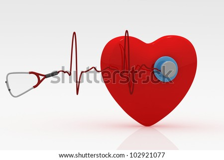 Heart and a stethoscope with heartbeat - stock photo