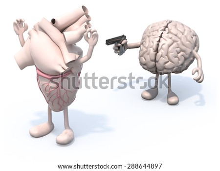 heart and brain with arms and legs, brain has a gun and points it at the heart who has his hands up - stock photo