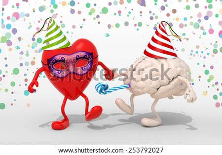 heart and brain with arms, legs, party cap, blowers, mask and carnival decorations, 3d illustration - stock photo