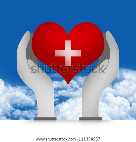 Heart and Cross Sign Over The Hand in Blue Sky Background For Heart Donation Concept - stock photo