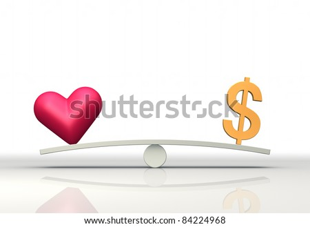 Heart and Dollar on seesaw - stock photo