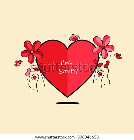 Heart and Flowers - I'm Sorry - stock photo