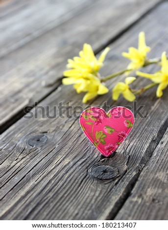 heart and forsythia flowers on old wooden boards - stock photo