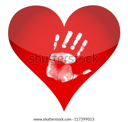 heart and handprint illustration design over white background - stock photo