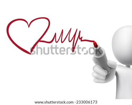 heart and heartbeat symbol drawn by 3d man over transparent board - stock photo