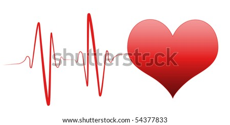 heart and heartbeat symbol on reflective surface on white background - stock photo