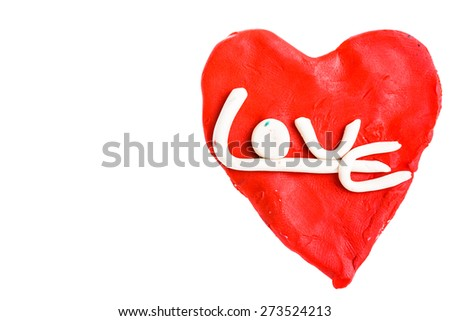 Heart and love made from plasticine - stock photo