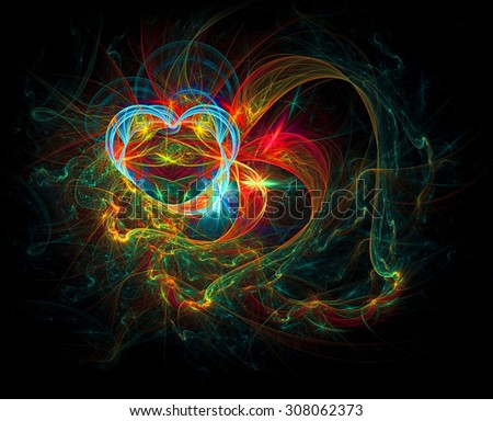 Heart and Ribbons abstract illustration - stock photo