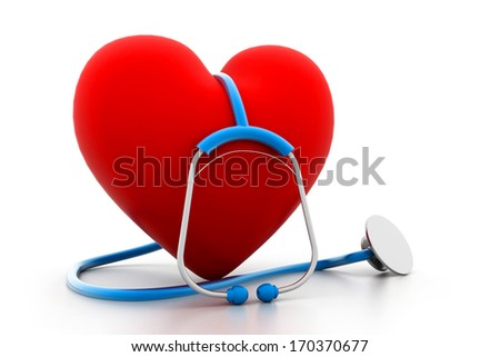 heart and stethoscope - stock photo