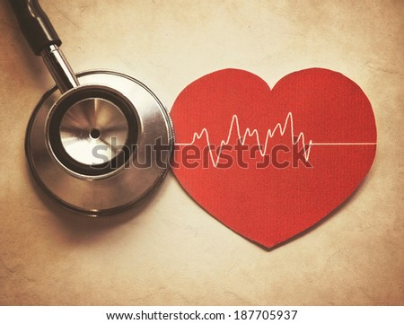 heart and stethoscope in vintage style - stock photo