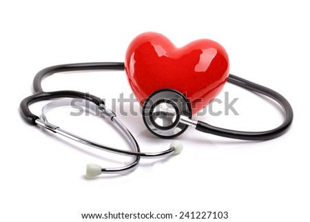Heart and stethoscope isolated on white background concept for healthcare and diagnosis medical cardiac pulse test - stock photo
