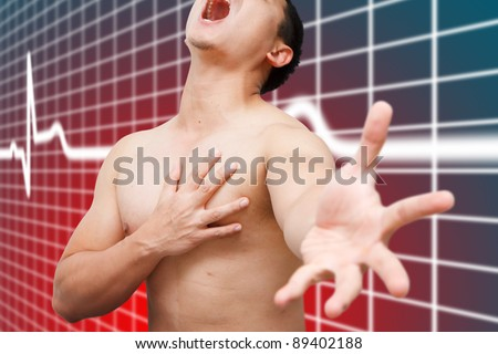 Heart Attack painful man - stock photo