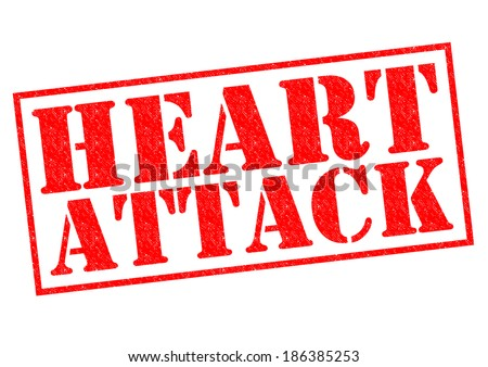 HEART ATTACK red Rubber Stamp over a white background. - stock photo