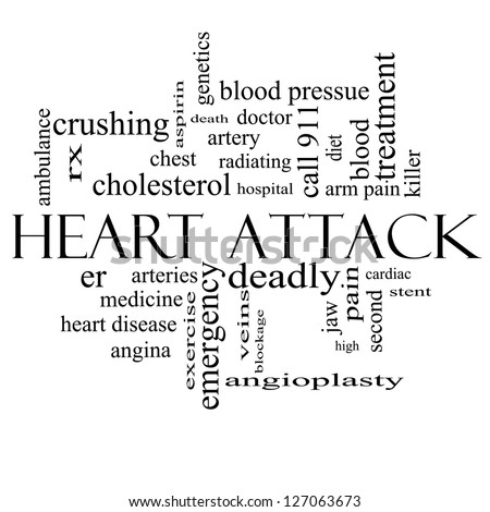 Heart Attack Word Cloud Concept in black and white with great terms such as heart disease, rx, artery, doctor and more. - stock photo