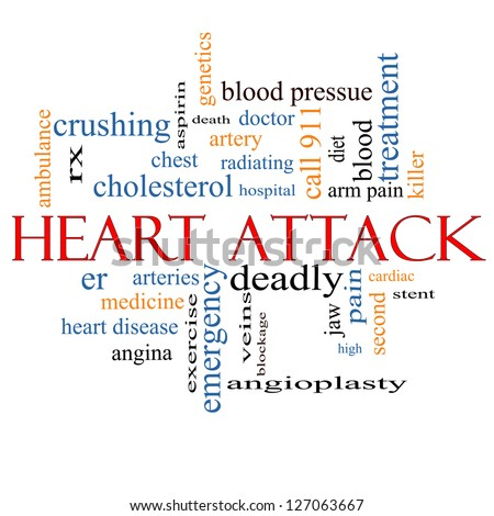 Heart Attack Word Cloud Concept with great terms such as heart disease, rx, artery, doctor and more. - stock photo