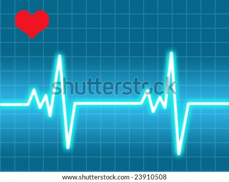 Heart beat on a blue monitor, with an heart in a corner - stock photo