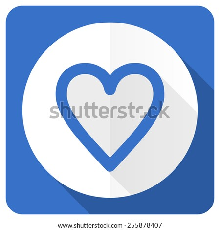 heart blue flat icon love sign  - stock photo