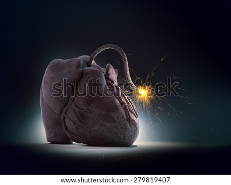 "Heart ""bomb"" with a lit fuse - cardiovascular disease concept - stock photo"