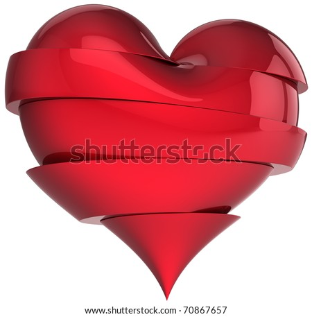 Heart broken sweetheart slices fall out of love cracked abstract symbol divorce icon concept. Valentine's Day greeting card elegance design element. 3d render isolated on white background - stock photo