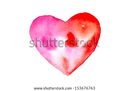 Heart by water color - stock photo