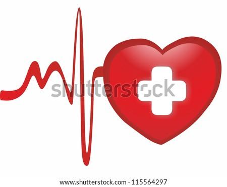 Heart - cardiogram - stock photo