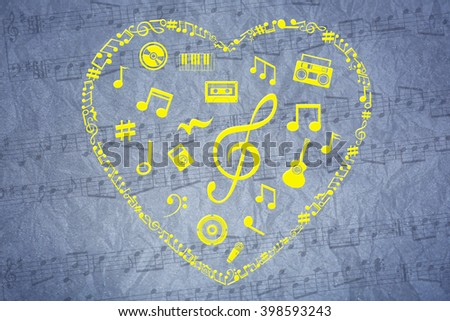 Heart collected from musical notes on grey background - stock photo