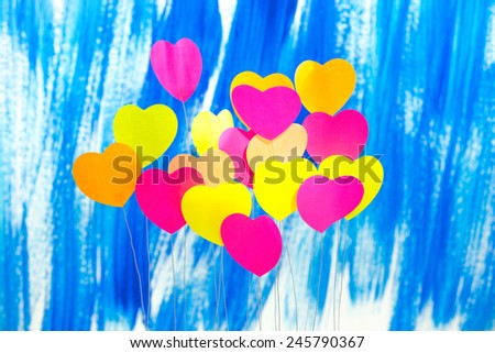 Heart, colorful, background, blue - stock photo