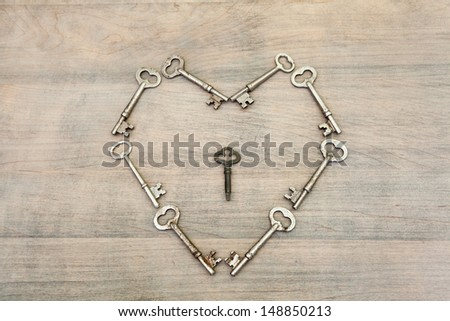 Heart Created with Keys - Key to the Heart - stock photo