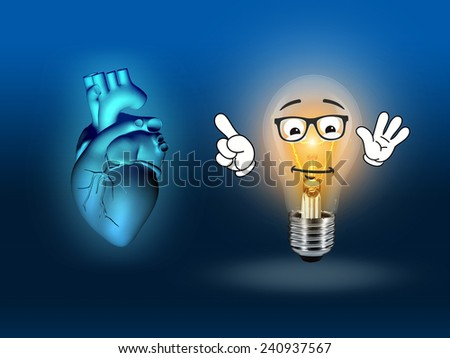 heart disease 3d anatomy illustration bulb blue - stock photo