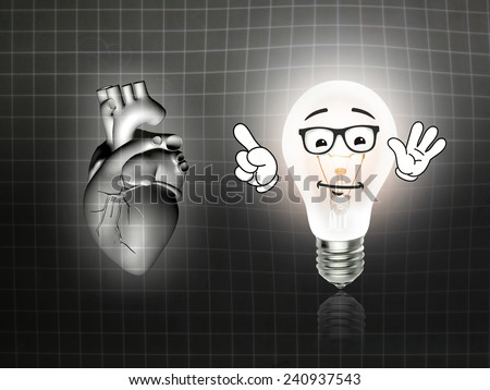 heart disease 3d anatomy illustration bulb grid - stock photo