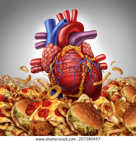 Heart disease risk symbol and health care and nutrition concept as a human cardiovascular organ drowning in an ocean of greasy high salt unhealthy fast food as a symbol of artery clogging crisis. - stock photo