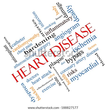 Heart Disease Word Cloud Concept angled with great terms such as plaque, ischemia, factors and more. - stock photo