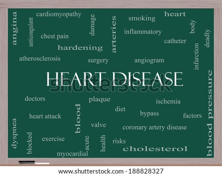 Heart Disease Word Cloud Concept on a Blackboard with great terms such as plaque, ischemia, factors and more. - stock photo